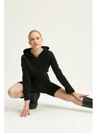 Quzu Kapüşonlu Crop Sweatshirt  Siyah